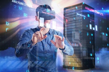 Composite image of man using virtual reality headset 3d