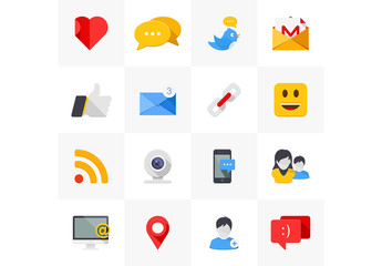 16 Flat Social Media Icons