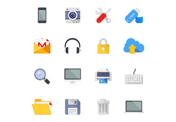 16 Flat Tech and Communications Icons