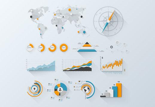 Three-Color Infographic Elements Set 1