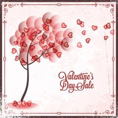 Valentines Day Sale Vintage card Background.