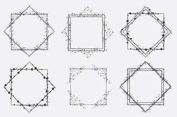 Hand drawn vector square frames isolated on background and easy to use