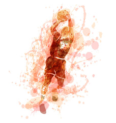 Colored vector silhouette of a basketball player. Vector illustration