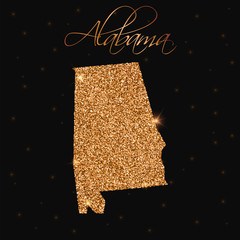 Alabama state map filled with golden glitter. Luxurious design element, vector illustration.