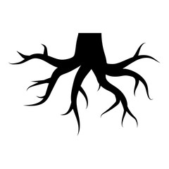 Roots illustration - glyph style icon - Filled black