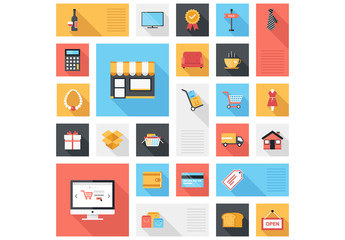 Grid of Dining and Shopping Icons Illustration