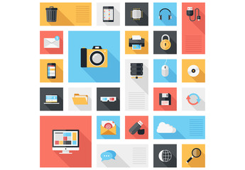 Grid of Social Media and Tech Icons Illustration