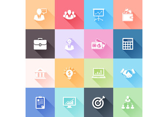 Multicolored Grid Iof Business Icons Illustration