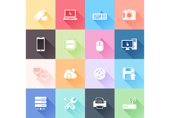 Multicolored Grid of Tech Icons