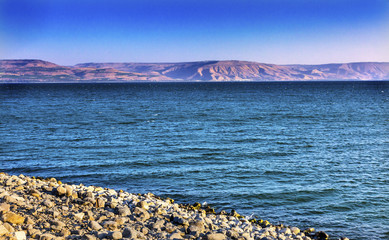 Sea of Galilee Capernum from Saint Peter's House Israel