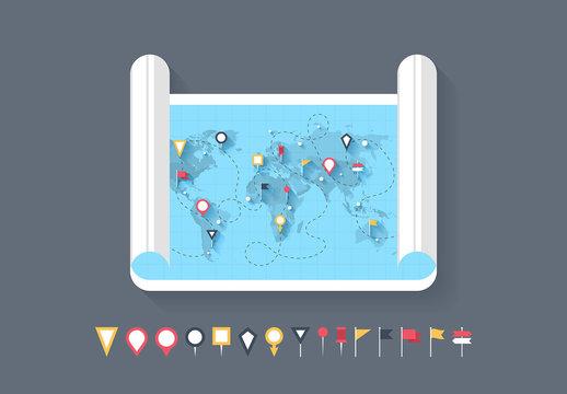 Map Scroll Illustration