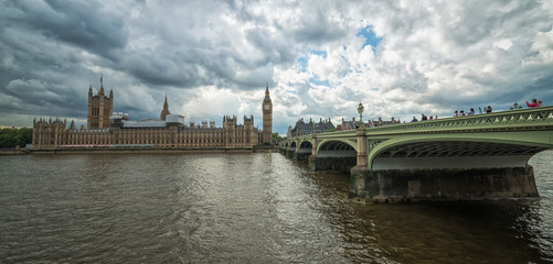 London - Thames bridge, Big Ben and houses of parliament in panoramic view