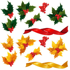 Natural and Gold holly leaves, berries and ribbon