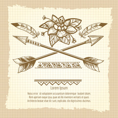 Vintage poster design with cross of arrows flower feathers and ethnic ornaments. Vector illustration