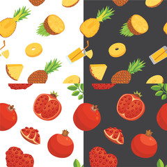 Fresh pomegranates and pineaples hand drawn background. Doodle wallpaper vector. Colorful seamless nice pattern