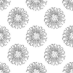 Vector floral illustration. Seamless pattern with flowers on the white background. Hand drawn contour lines and strokes. Doodle style, graphic vector illustration