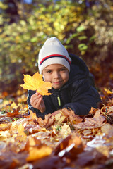 Portrait of a happy boy in the autumn park