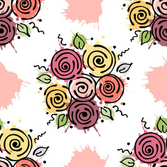 Vector seamless floral pattern with flowers, leaves, decorative elements, splash, blots, drop Hand drawn contour lines and strokes Doodle sketch style, graphic vector drawing illustration