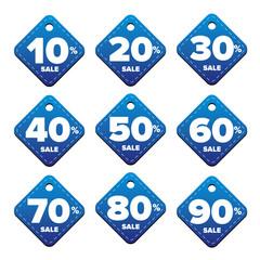 Sale percent pricetag blue vector