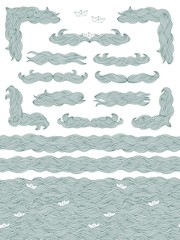 Set of hand drawn seamless pattern, banners, text dividers and corners with doodle waves and little paper boats in blue