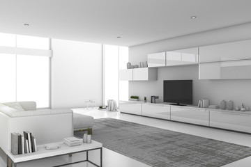 3d rendering white minimal modern living room with modern design