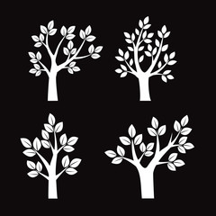 Collection of white Trees. Vector Illustration.