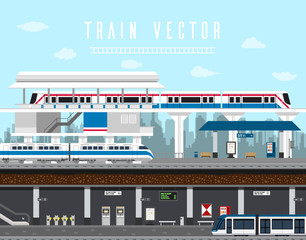 Flat design set of Train, Sky Train, Subway Vector. Element train vector