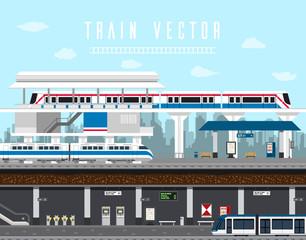 Flat design set of Train, Sky Train, Subway Vector. Element train vector
