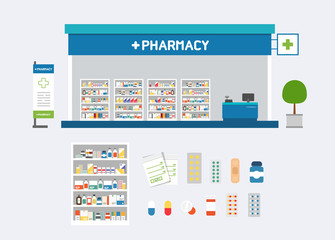 Vector pharmacy set design, shop store, package and front display design