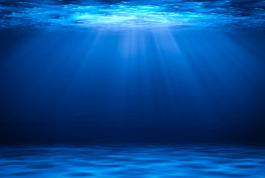 Blue deep water horizontal abstract natural background.