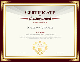 Elegant certificate of achievement template with vintage brown border