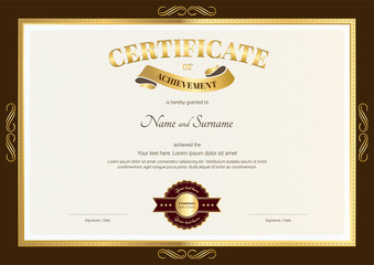 Elegant certificate of achievement template with vintage brown b