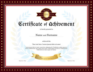 Elegant certificate of achievement template with vintage border