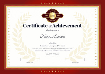 Certificate of achievement template with red border and red gold
