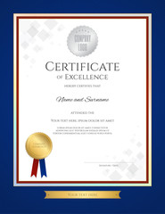 Portrait certificate of excellence template in portrait with blue border
