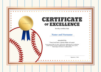 Certificate of excellence template in sport theme for baseball event with baseball shirt style border