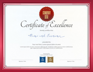 Certificate of excellence template with red border