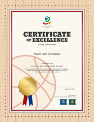 Portrait certificate of excellence template in sport theme for basketball competition with wooden border