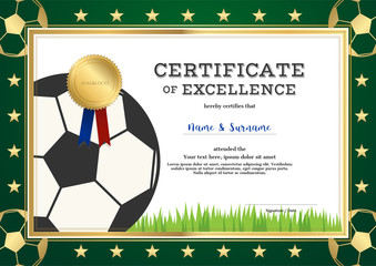 Certificate of excellence template in sport theme for football match