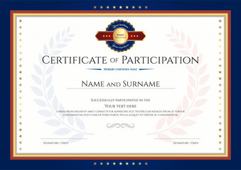 Certificate of participation template with laurel background and blue border