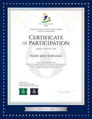 Sport theme certificate of participation template for football match