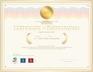 Certificate of participation template with colorful wave watermark in gold tone theme