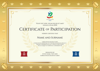 Sport theme certificate of participation template for sport or rugby event