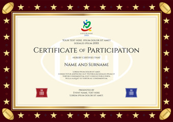 Sport theme certification of participation template for sport or rugby competition