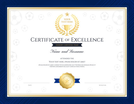 Sport theme certification of excellence template for football competition