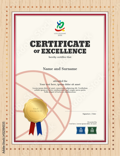"""Portrait certificate of excellence template in sport ..."