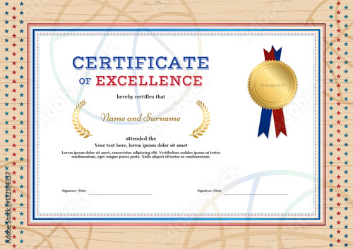 Certificate Of Excellence Template In Sport Theme For Basketball Event With  Wooden Border
