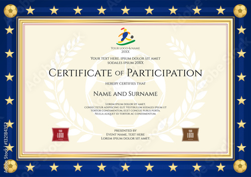 sport theme certification of excellence template for football