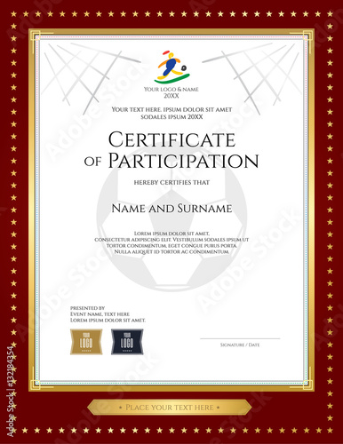 Sport Theme Certificate Of Participation Template For Football Match  Certificate Of Participation Free Template