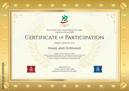 Sport theme certificate of participation template for sport or sport theme certificate of participation template for sport or rugby event yelopaper Images